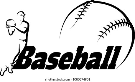 Black and white illustration of a baseball player getting ready to throw a baseball with the word baseball and a stylized baseball.
