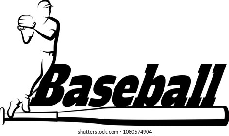 Black and white illustration of a baseball player getting ready to throw a baseball with the word baseball over a bat.