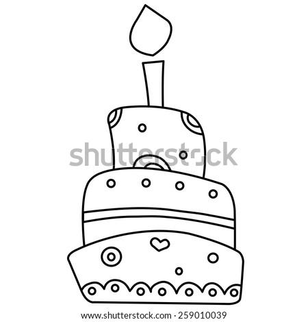 Black White Illustration Birthday Cake Vector Stock Vector Royalty