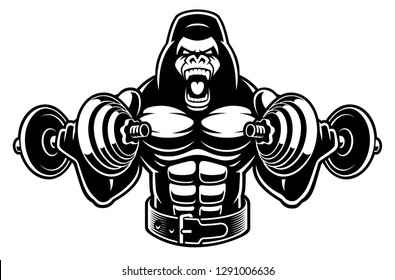 black and white illustration of a bodybuilder gorilla with dumbbells, isolated on the dark background.