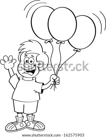 Black White Illustration Boy Holding Balloons Stock Vector Royalty