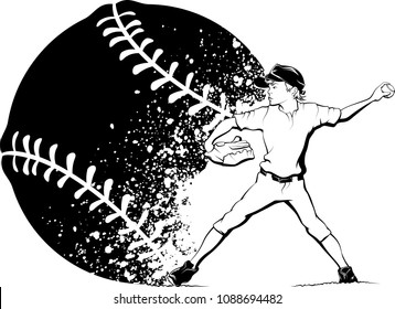 Black and white illustration of a boy pitching a baseball with a splatter baseball design behind him.
