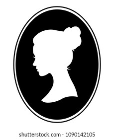 Black and White Illustration of a Cameo Featuring the Silhouette of a Woman.