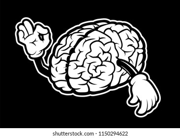 Black and white illustration of cartoon brain with hands on dark background.