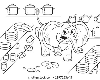 Black and white illustration of a cartoon clumsy elephant in a china shop