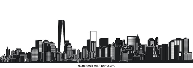 Black and white illustration in a cartoon style. Panorama, landscape of the city of New York
