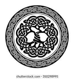 Black and white illustration of celtic tree of life Yggdrasil,  vector illustration