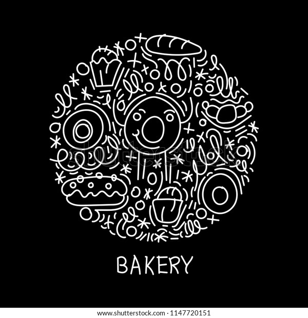 black and white illustration, circle with bread, donuts, food. Vector graphics