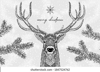 Black and white illustration of a cute reindeer in winter - Hand drawn Christmas card template - Merry Christmas