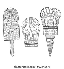 Black and white illustration of decorated ice cream for coloring book. Dessert, sweet food. Vector