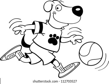Black and white illustration of a dog playing basketball