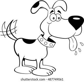 Black and white illustration of a dog with it's tongue out.