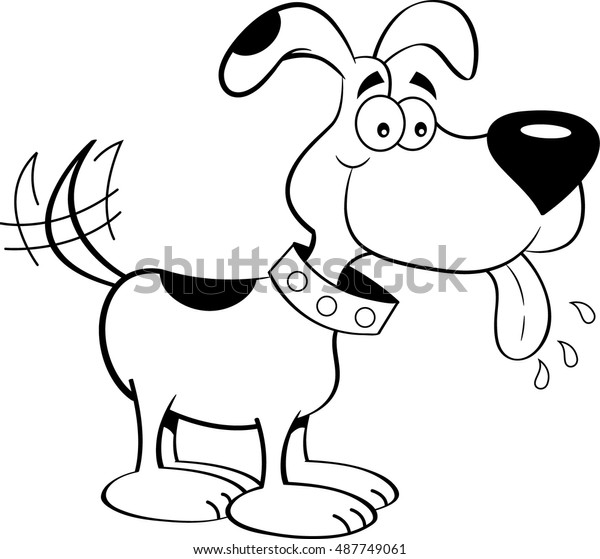 Black White Illustration Dog Tongue Out Stock Vector Royalty Free 487749061