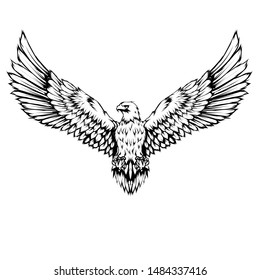 a black and white illustration of an eagle