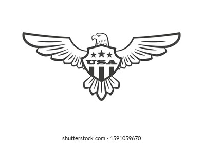 Black and white illustration of an eagle with spread wings and a shield, stars and text. Vector illustration on the theme of American symbolism of freedom and democracy