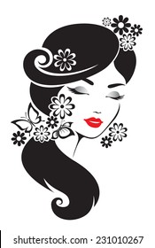 Black and white illustration of elegant Japanese woman.