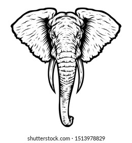 a black and white illustration of an elephant with a detailed shape