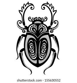Black and White Illustration of Exotic Scarab. Egyptian Symbol, Sacral Beetle. Decorative Tribal Design for Print, Emblem, Tattoo etc. Vector Contour Illustration. Abstract Ornate Art