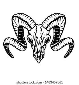 black and white illustration of a goat skull