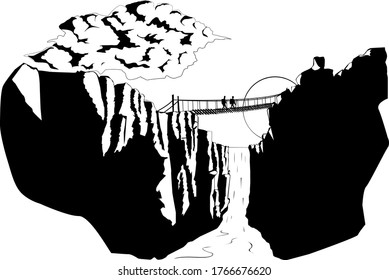 black and white illustration gorge with a waterfall and suspension bridge