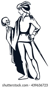 Black and white illustration of Hamlet with a skull in his hand. Actor plays the role of Hamlet, vector and illustration.