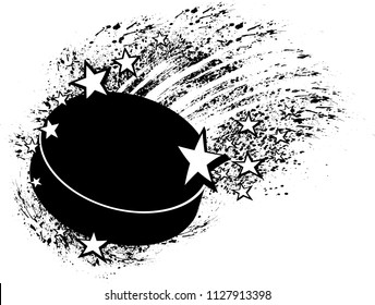 Black and white illustration of a hockey puck flying through grunge splatter and stars.