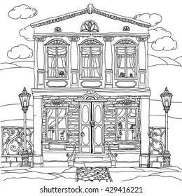 Black and white illustration of a house with details for adult coloring book or for zen art therapy anti stress drawing. Hand-drawn, vector,very detailed, for coloring book, poster design, uncolored