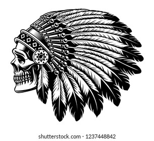 Black and white illustration of an Indian skull. Isolated on the white background.