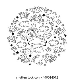 Black and white illustration for kids coloring book. Concept in circle with cute magic kawaii unicorn, crown, clouds, flowers and stars. Vector illustration.