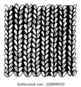 Black and white illustration of a knitted fabric. Vector illustration.