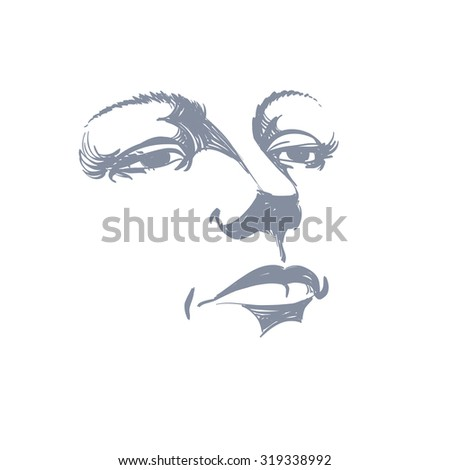 Illustration Visage black white illustration lady face delicate stock vector (royalty
