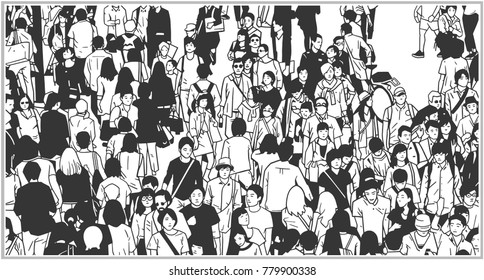 Black and white illustration of large city crowd from high angle view