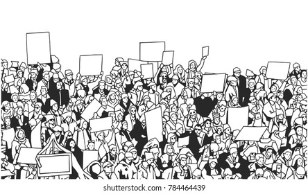 Black and white illustration of large crowd protest with blank signs