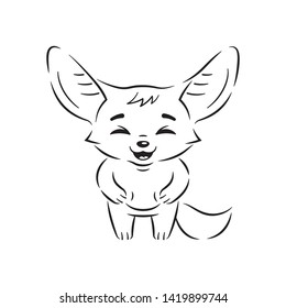Black and white illustration of laughing fennec fox with paws on its belly. Cute kawaii cartoon character. Funny emotion and face expression. Isolated on white background