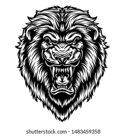 black and white illustration of a lion's head