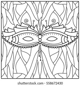 Black and white illustration of a mask. Coloring page. Vector.