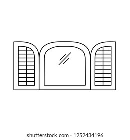 Black & white illustration of old louver plantation arch window shutter. Vector line icon of wooden vintage outdoor jalousie. Isolated object on white background