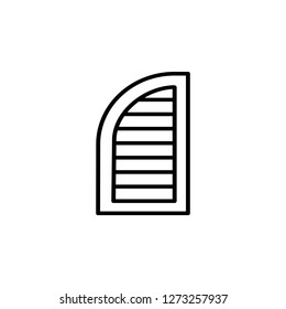 Black & white illustration of old louver arch window shutter. Vector line icon of wooden vintage outdoor jalousie. Isolated object on white background