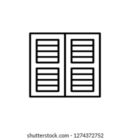 Black & white illustration of old louver plantation window shutter. Vector line icon of wooden vintage outdoor jalousie. Isolated object on white background