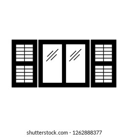 Black & white illustration of old window plantation shutter. Vector flat icon of wooden vintage outdoor jalousie. Isolated object on white background