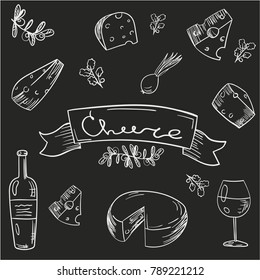 Black and white illustration on a chalkboard. Wine and cheese. Handsdraw cheese