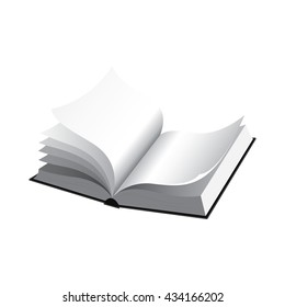 Black and white illustration of an open book