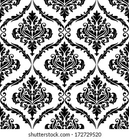 Black and white illustration of am ornate floral arabesque decorative seamless pattern with each motif in a foliate frame suitable for textiles and damask style fabric
