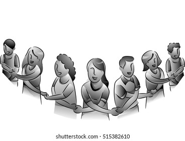 Black and White Illustration of People Forming a Human Chain in a Show of Unity