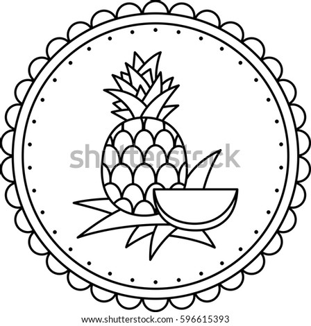 Black White Illustration Pineapple Coloring Page Stock Vector ...