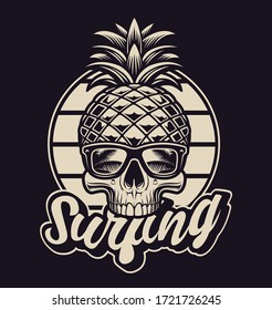 Black and white illustration with pineapple skull in vintage style. This design is perfect for logos, shirt prints and many other uses as well.
