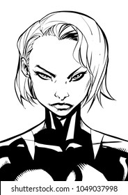 Black and white illustration of the portrait of a powerful superheroine.