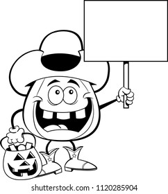 Black and white illustration of a pumpkin dressed as a cowboy while trick or treating and holding a sign.