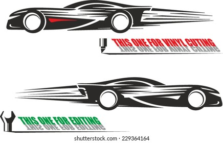 Black and white illustration of a racing car side view ready for vinyl cutting