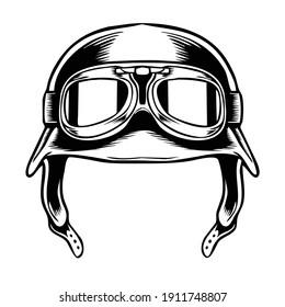 black and white illustration of a retro helmet